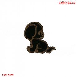 Iron-On Patch - Dark Brown Dog, 15x15 cm