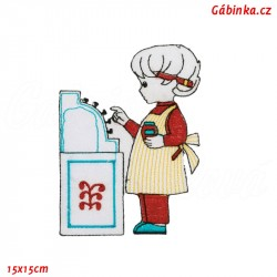 Iron-On Patch - Girl with a Blue Cash Register
