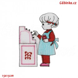 Iron-On Patch - Girl with a Pink Cash Register