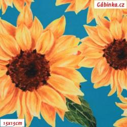 Silky, umělé hedvábí - Slunečnice na modré, šíře 140 cm, 10 cm