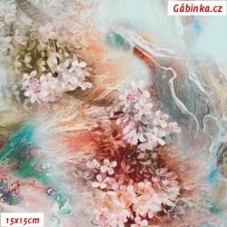 Silky, umělé hedvábí - Horské kvítí na sv. mentolové, 15x15 cm