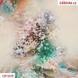 Silky, umělé hedvábí - Horské kvítí na sv. béžové, 15x15 cm