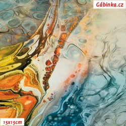 Silky, umělé hedvábí - Mořská hladina modrožlutá, 15x15 cm