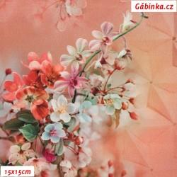 Silky, umělé hedvábí - Květy sakury na lososové, 15x15 cm