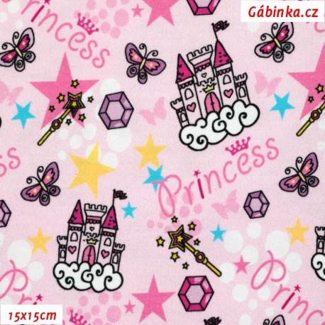 Úplet s EL - Princeznin hrad na růžové, 15x15 cm