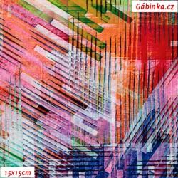 Viskóza tkanina - Barevné geometrické tvary, 15x15 cm