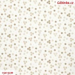 Plátno - Drobné kytičky béžové na bílé, 15x15 cm
