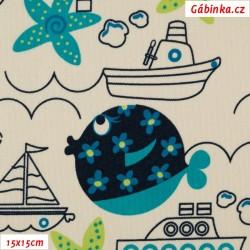 Kočárkovina MAT - Moře lodě a ryby tyrkysové na smetanové, 15x15 cm