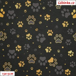 Koženka DSOFT 202 - Zlaté a šedé tlapky na černé, 15x15 cm