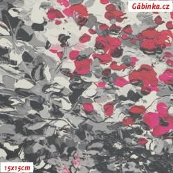 Koženka DSOFT 206 - Malované kytičky růžovošedé, 15x15 cm