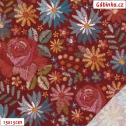 Úplet s EL POPPY - Vyšívané květy na bordó, digitální tisk, 15x15 cm