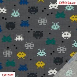 Úplet s EL BIO POPPY - Pixel Game na šedé, 15x15 cm