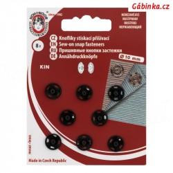 Stiskací patenty kovové KIN - Černé, 10 mm, 8 ks