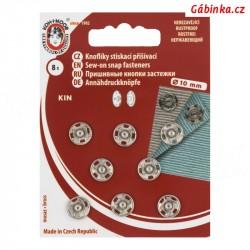 Stiskací patenty kovové KIN - Nikl, 10 mm, 8 ks