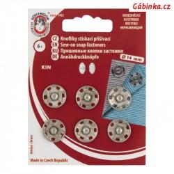 Stiskací patenty kovové KIN - Nikl, 14 mm, 6 ks