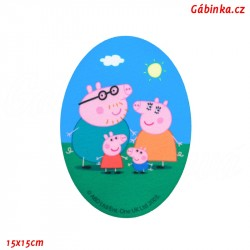 Iron-On Knee Patch Peppa Pig 1 - Family, 15x15 cm