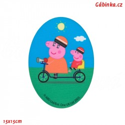 Iron-On Knee Patch Peppa Pig 3 - With Mom on a Bike, 15x15 cm