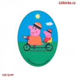 Nažehlovací záplata Prasátko Peppa 3 - S maminkou na kole, 15x15 cm