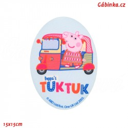 Iron-On Knee Patch Peppa Pig 5 - On a Trip, 15x15 cm