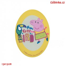 Iron-On Knee Patch Peppa Pig 8 - With a Parrot, 15x15 cm