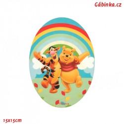 Nažehlovací záplata Medvídek Pú 1 - Tygr a Pú, 15x15 cm