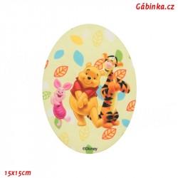 Nažehlovací záplata Medvídek Pú 6 - Pú, tygr a prasátko, 15x15 cm