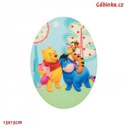 Nažehlovací záplata Medvídek Pú 8 - Pú a kamarádi na výletě, 15x15 cm