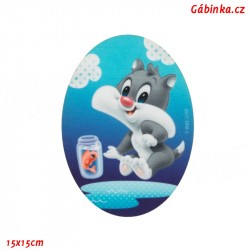 Iron-On Knee Patch Baby Looney Tunes 1 - With a Fish, 15x15 cm