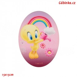 Nažehlovací záplata Baby Looney Tunes 3 - Tweety zalévá květinku, 15x15 cm