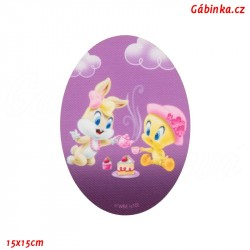 Iron-On Knee Patch Baby Looney Tunes 5 - Lola Bunny and Tweety at the patisserie, 15x15 cm
