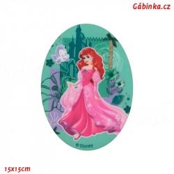 Nažehlovací záplata Disneyovské princezny 1 - Ariel, 15x15 cm