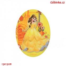 Nažehlovací záplata Disneyovské princezny 7 - Kráska Bel, 15x15 cm