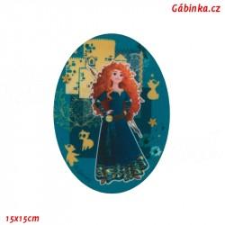 Nažehlovací záplata Disneyovské princezny 8 - Rebelka Merida, 15x15 cm