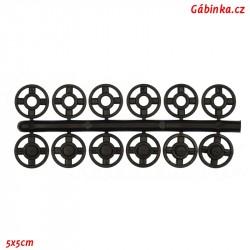 Stískací patenty plastové - Černé mini, průměr 7 mm, 6 ks