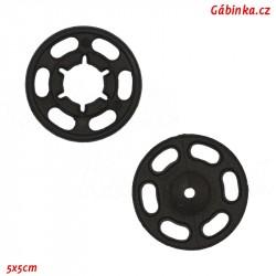 Stískací patenty plastové - Černé maxi, průměr 21 mm, 1 ks