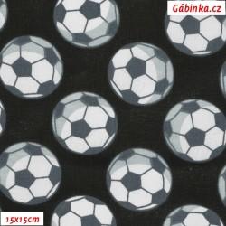 Plátno - Fotbalové míče na černé, 15x15 cm