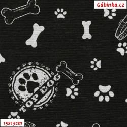 Režné plátno - Psí tlapky s kostmi na černé, 15x15 cm