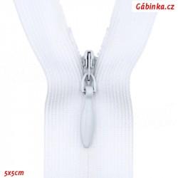Spirálový šatový skrytý zip nedělitelný, bílý