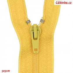 Spirálový šatový zip nedělitelný, žlutý