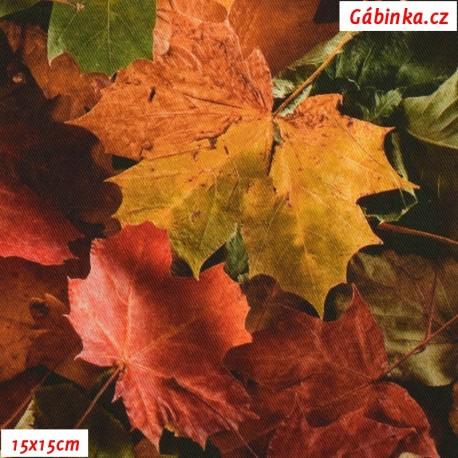 Plátno SOFT - vyšší gramáž, Podzimní listy - digitální tisk, 15x15 cm