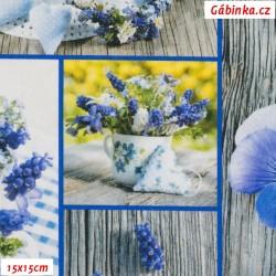 Plátno SOFT vyšší gramáž - Modré mámení, 15x15 cm