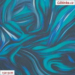 Koženka DSOFT 209 - Abstraktní malba modrá, 15x15 cm