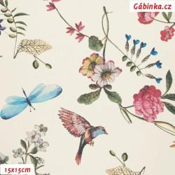 Koženka DSOFT 214 - Ptáčci a květiny na přírodní bílé, 15x15 cm