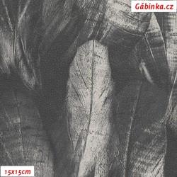 Koženka DSOFT 217 - Pírka velká tmavě šedobílá, 15x15 cm