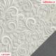 Koženka DSOFT 008 - Ornamenty na světle šedé, kombinace s koženkou SOFT LESK 114 tmavě šedou