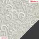 Koženka DSOFT 008 - Ornamenty na světle šedé, kombinace s koženkou SOFT 28 antracit