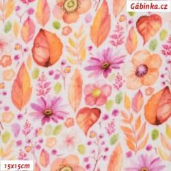 Fáčovina dvojitá - Pestrobarevné květy s lístečky, 15x15 cm
