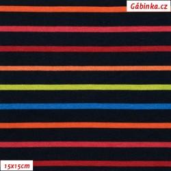 Viskózový úplet - Pruhy barevné na černé, 15x15 cm