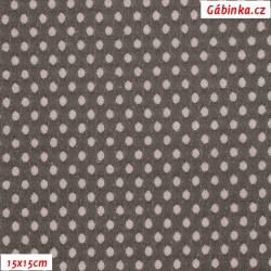 Riflovina PES/BA/EL - Puntíky 3D sv. růžovo-bílé na šedé, 15x15 cm