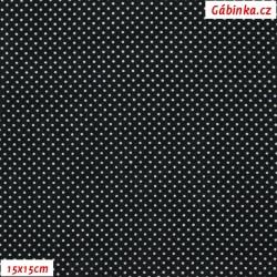Viskóza tkanina - Bílé MINI puntíky na černé, 15x15 cm